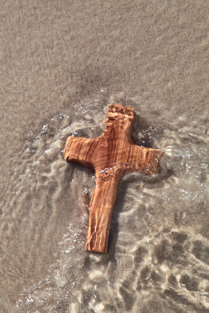 Wooden cross - mourning concept - die and believe  Stock Photo