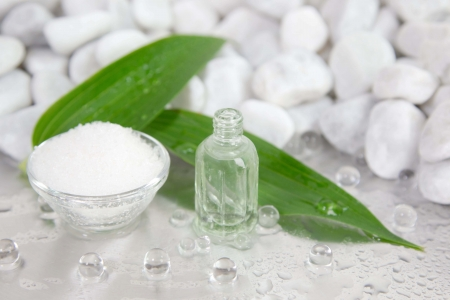 Bath salt. Healing power of nature - spa arrangement in green and white