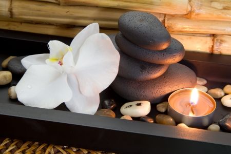 basalt: Candle and spa stones with orchid - wellness arrangement
