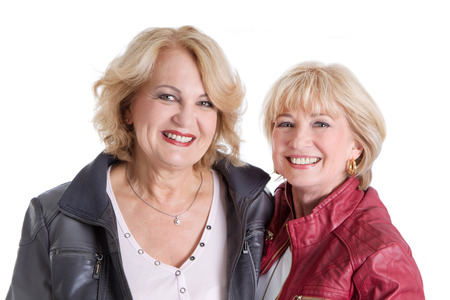Girlfriends - two older woman happy living together photo
