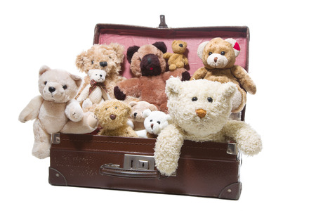 stuffed animals: Luggage full of plush teddy bears isolated on a white  Stock Photo