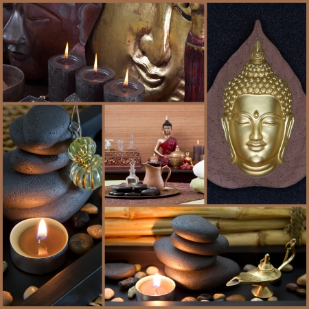 Spa decoration with Buddha in gold, brown and black - oriental or asian style
