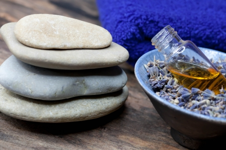 essence: Lavender oil and lavender soap - Stock Photo - for spa