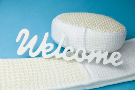 scrubber: Word dream on sponge and scrubber - bathroom decoration in white and turquoise  Stock Photo