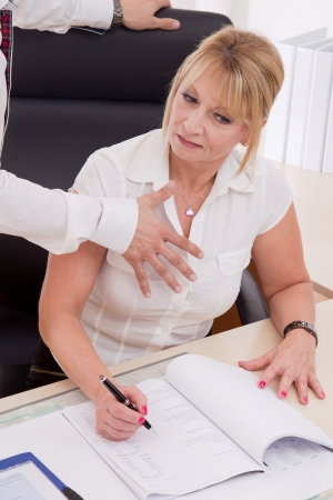 Man try to touch businesswoman Stock Photo - 24683932