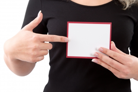 frenetic: Woman showing blank paper for advertising Stock Photo