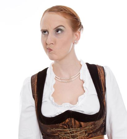 sceptical:  Skeptical woman in dirndl