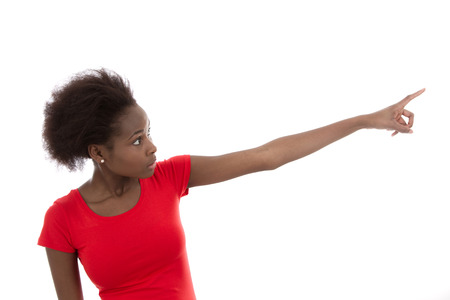 finger tip: Beautiful young african american woman is presenting with her forefinger Stock Photo