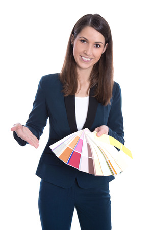 Woman showing color cards for renovating, at home - architecture photo
