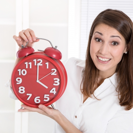 closing time: Closing time - woman is happy that her working day is over Stock Photo