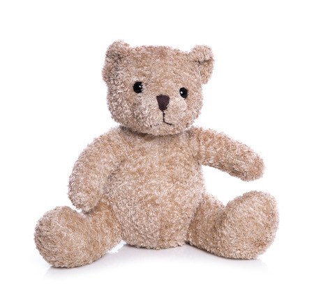 Isolated old teddy bear on white background