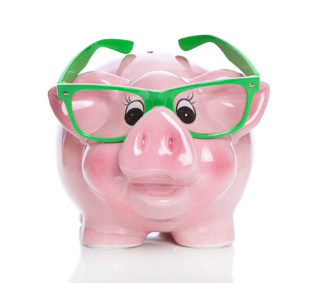 financial controller: Isolated rose piggy bank on white background for concepts