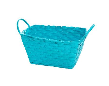 homeware: Isolated turquoise or blue basket on white background