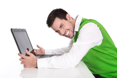 Isolated businessman has computer problems.