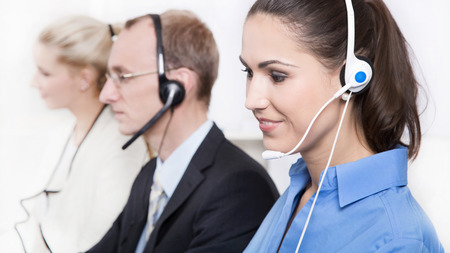 customer facing: Call Center: telesales or helpdesk team with Headsets.