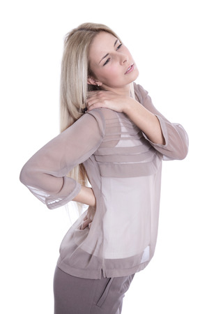 spinal disc herniation: Young beautiful secretary has pains on her back isolated on white.