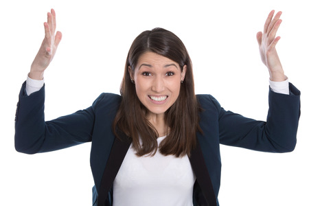 Isolated business woman excited with hands in the air.  photo