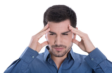 Isolated attractive man with headache or pensive   photo