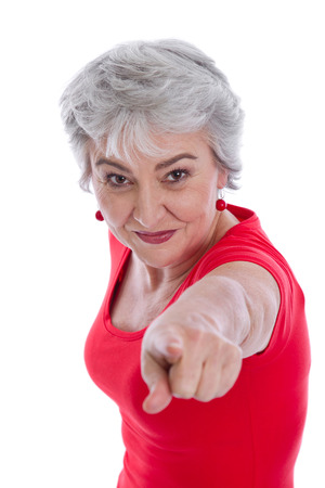 forceful: Forceful isolated woman pointing with her finger - on white .