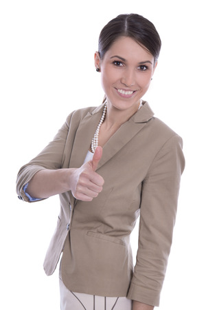 thump: Beautiful satisfied manager with thumb up isolated on white.