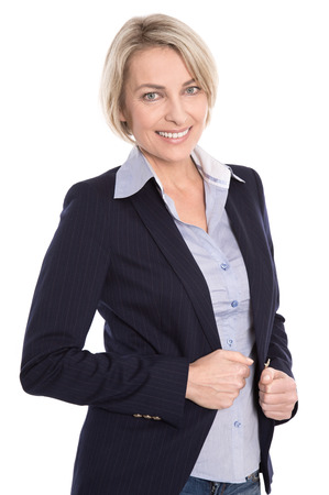 blazer: Portrait of successful blond businesswoman isolated on white  Stock Photo