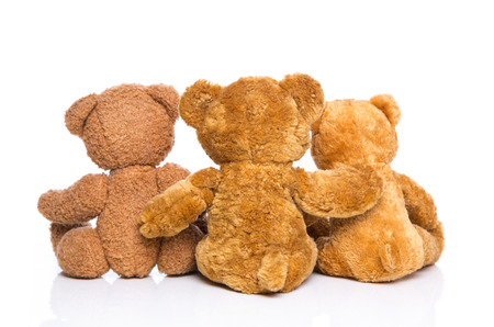back up: Teddy bear friends - concept for teamwork or friendship