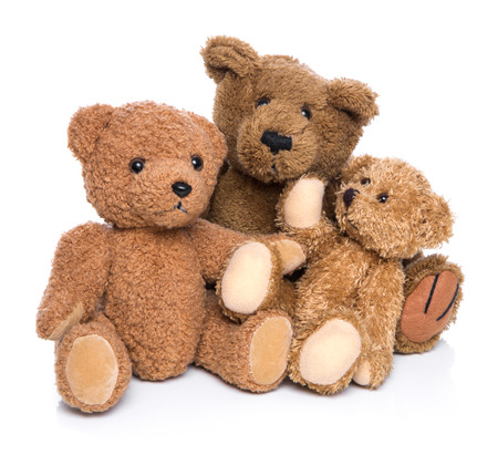 plush toy: Teddy bear family isolated on white .