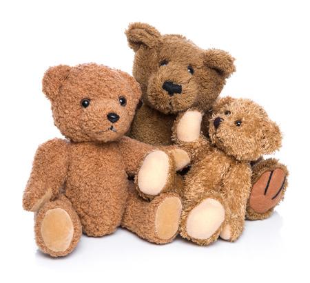 Teddybeer familie geïsoleerd op wit.