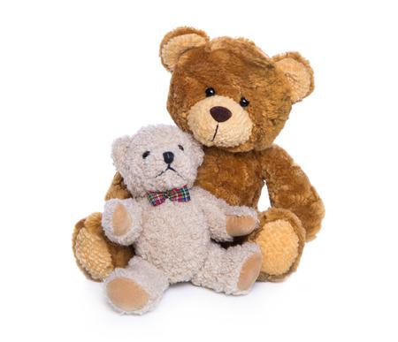 osos de peluche: Dos osos de peluche isolaated - concepto para la madre con el niño.