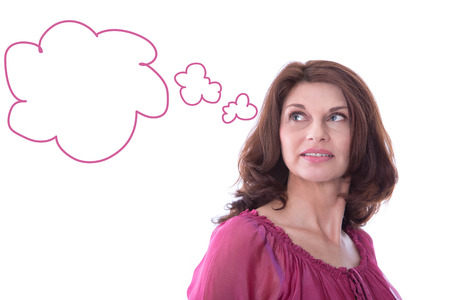 mature brunette: Mature woman with a speech balloon isolated on white background.