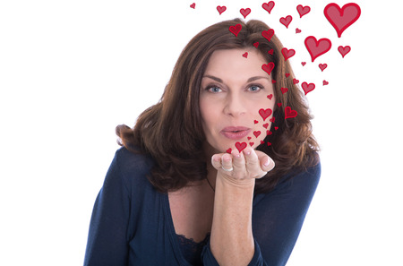 love kiss: Valentines day or older woman in love. Stock Photo