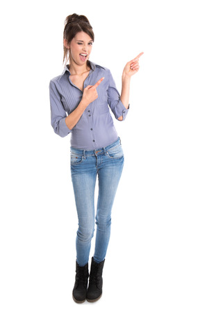 humorously: Happy teenager presenting with her hands.
