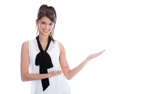 humorously: Isolated elegant business woman presenting with her hands.
