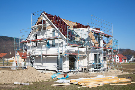 prefabricated: Construction of a new prefabricated house - stone and wood.