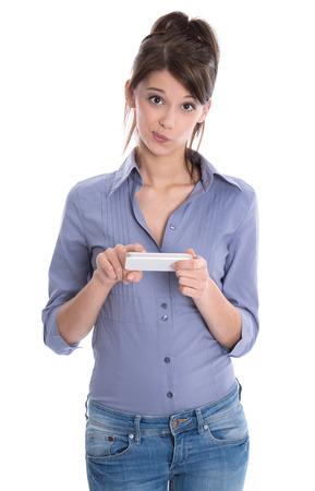 business skeptical: Adolescente triste con el tel�fono inteligente aislados en blanco