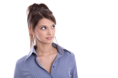 sideways glance: Isolated attractive business woman looking sideways on white