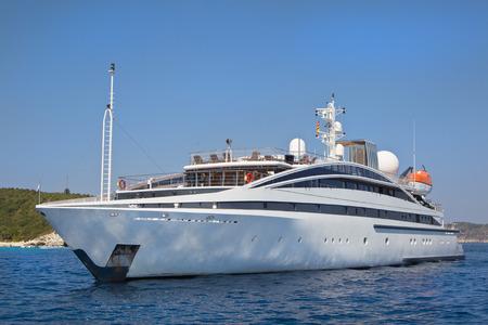 Large luxury priavate yacht at sea.
