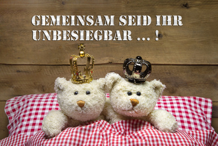 Concept for love - two beige teddy bears lying in checkered bed with crowns.  photo