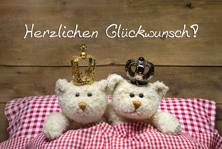 Concept for wedding - two beige teddy bears lying in checkered bed with crowns photo