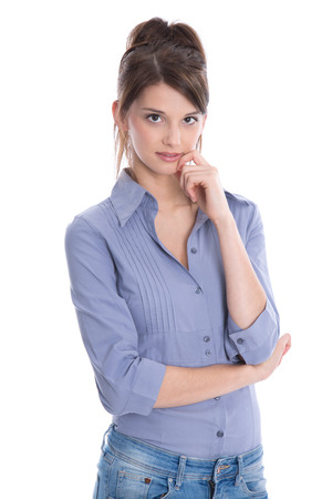 Isolated young pretty female student with blue blouse on white.  photo