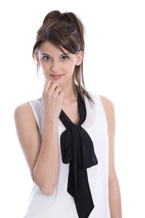 dark haired: Isolated portrait of elegant young  thoughtful trainee on white background.