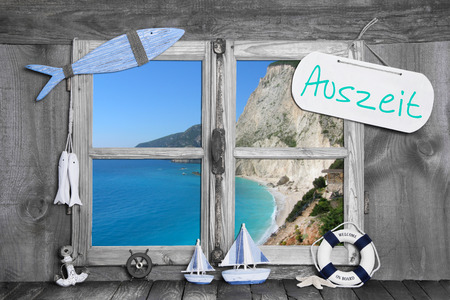 auszeit: Auszeit...  time-out - relaxation on the coast. Vacation background for summer holidays.