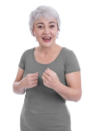 Portrait of a happy older woman with grey hair isolated on white. Stock Photo - 27626757