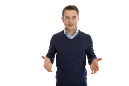 unsuccessful: Isolated business man gesturing with his hands