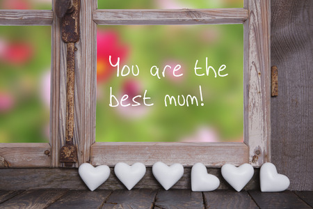 You are the best mum! Greeting card for mothers day. Wooden background with garden view. photo