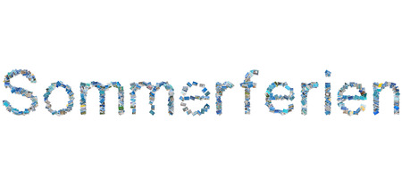 Summer concept with the german word Sommerferien for summer holidays. photo