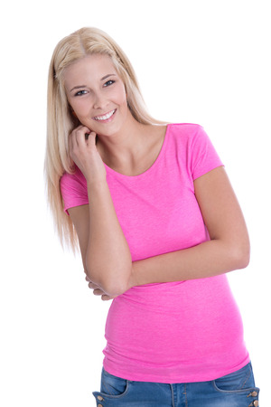 Happy pretty isolated young woman in pink shirt. photo