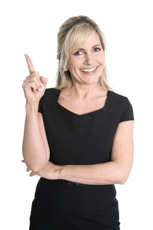 Isolated attractive successful female manager presenting with her forefinger.