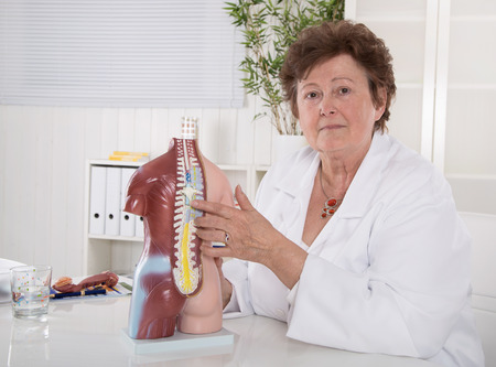 discs: Senior female doctor explaining the human body with torso. Here spinal column. Stock Photo