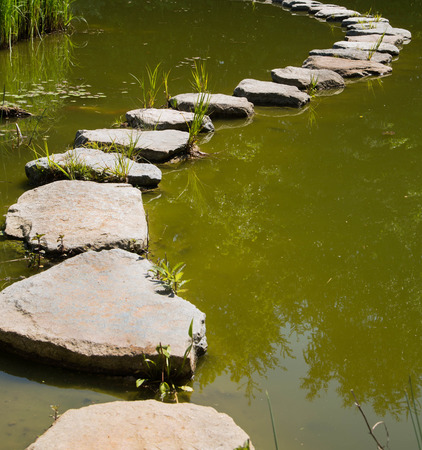 ways to go: The last way in the life: stones in the water for concepts. Mourning or death.